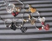 Colorful Heart Shaped Wine Charms -Recycled2Party -Set of 8