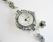 Harmony in Silver and Black -  Beaded Watch Bracelet