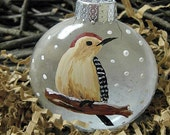 Personalize Ornament - Red Bellied Woodpecker-Hand painted, Made to Order