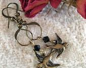 Twitter Love - Swarovski Crystals and Oxiidiized Brass Bird Earrings