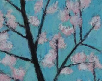 "Cherry Blossoms 1 - original pastel painting 6 x 12"""