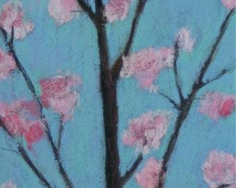 "Cherry Blossoms 2 - original pastel painting 6 x 12"""