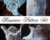 Crochet PATTERN -  Romance Pattern Set.  Receive Romance Wristwarmers AND Neckwarmer Patterns for one low price