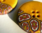 Set of 2 One-of-a-kind Handmade Floral Buttons...