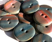 Set of 6 One-of-a-kind Handmade Teal Buttons...