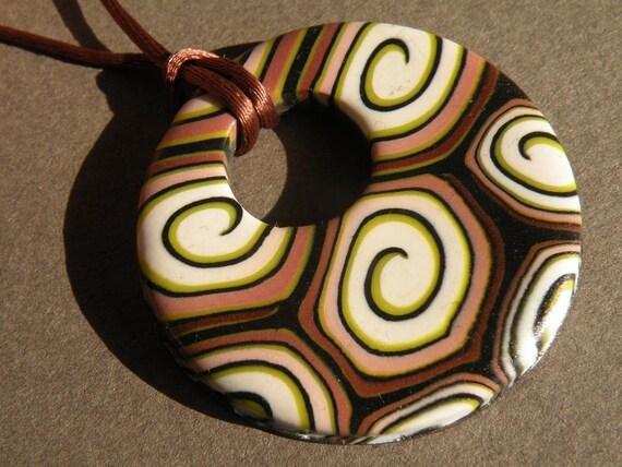 Brown Spiral Round Pendant...