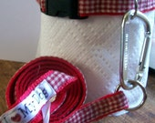 Red and white check Dog collar and leash set with caribiner clip