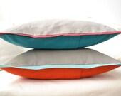 Color block pillow cover in aquamarine, silver gray and pumpkin orange