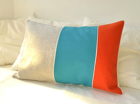 Color block lumbar pillow cover, turquoise and pumpkin orange cotton and natural beige linen