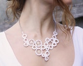 White crocheted necklace, organic circle motif