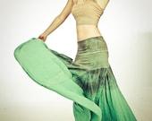 Long aqua skirt, hand dyed aqua, green, greys, stretchy waist fits all sizes