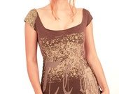 Brown olive womens top detailed textures unique graphics