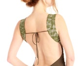 Olive green tank top  with pattern fabric shoulder insets, open back, absolutely stunning.