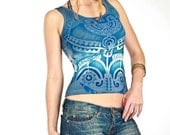 Blue tank top, tribal tattoo design Aztec Eagle hand stenciled Small