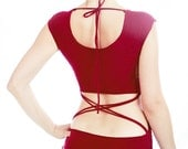 Women tank top open back criss cross, very soft and stretchy in red and black