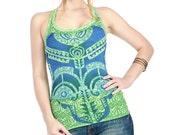 Aqua green top, Tribal  tattoo graphic hand stenciled OOAK