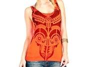 Orange tank top, Tribal  tattoo graphic hand stenciled OOAK