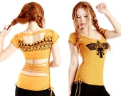 Mustard (gold)  Aztec Eagle hand stenciled top MEDIUM ONLY