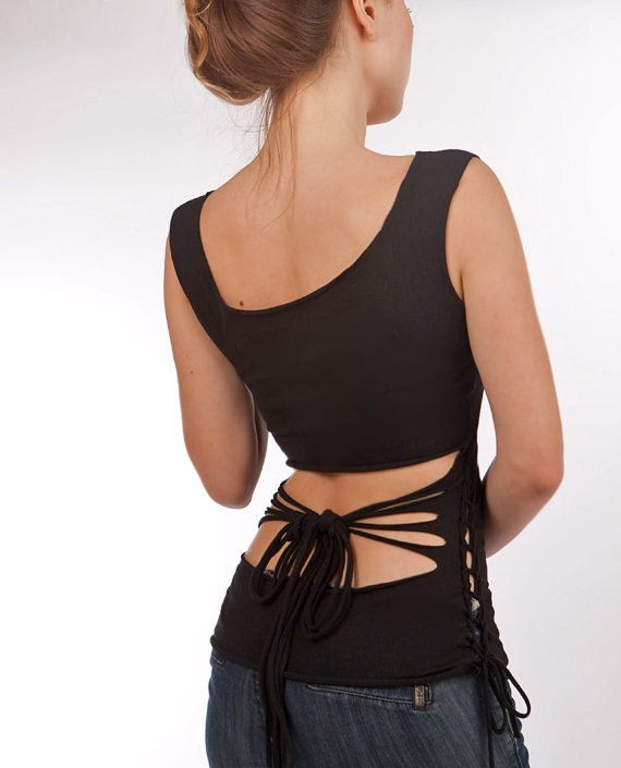 women's shirt Beautiful soft black fabric with an open back Bow,  LAST, SMALL ONLY
