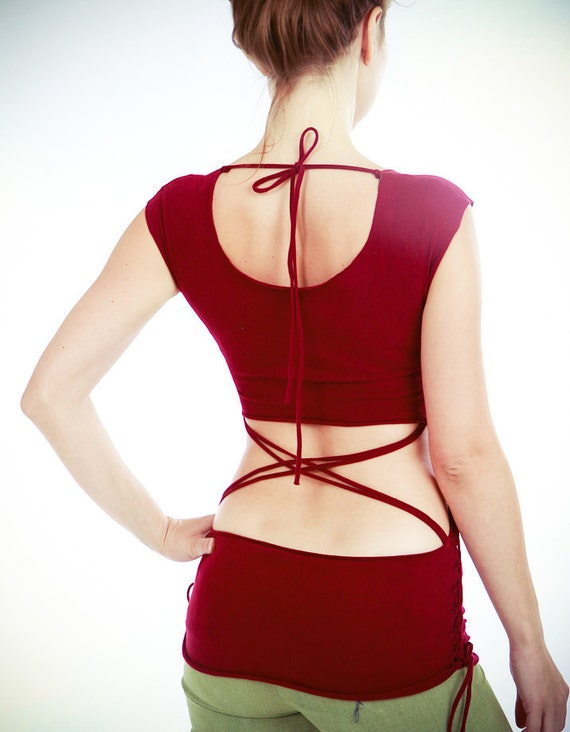 Maroon red women top open back, very soft and stretchy