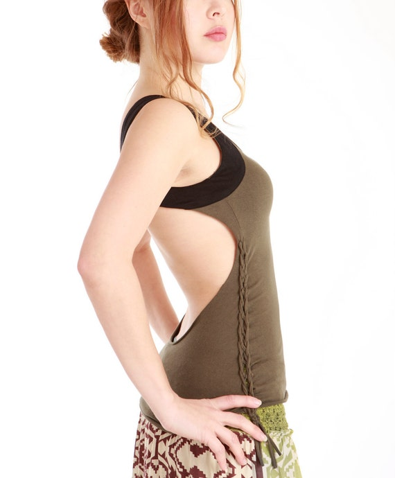 SALE. Olive green tank top  with white black  fabric shoulder insets, open back, absolutely stunning.