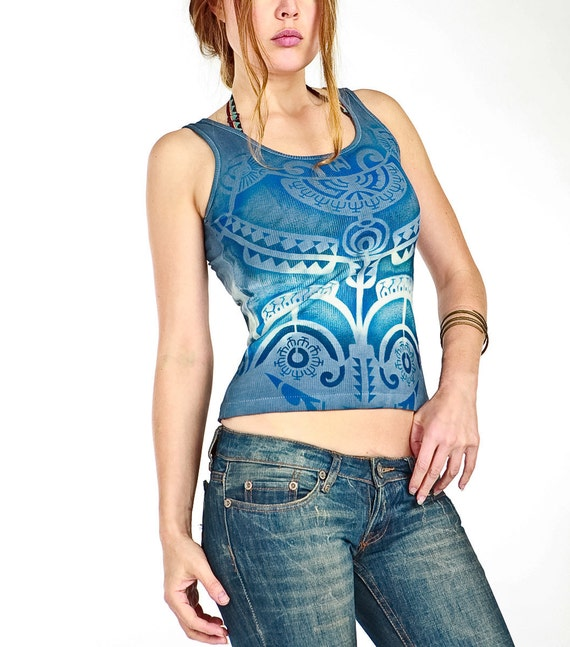 Blue Tank Top Tribal Tattoo Design Aztec Eagle Hand Stenciled