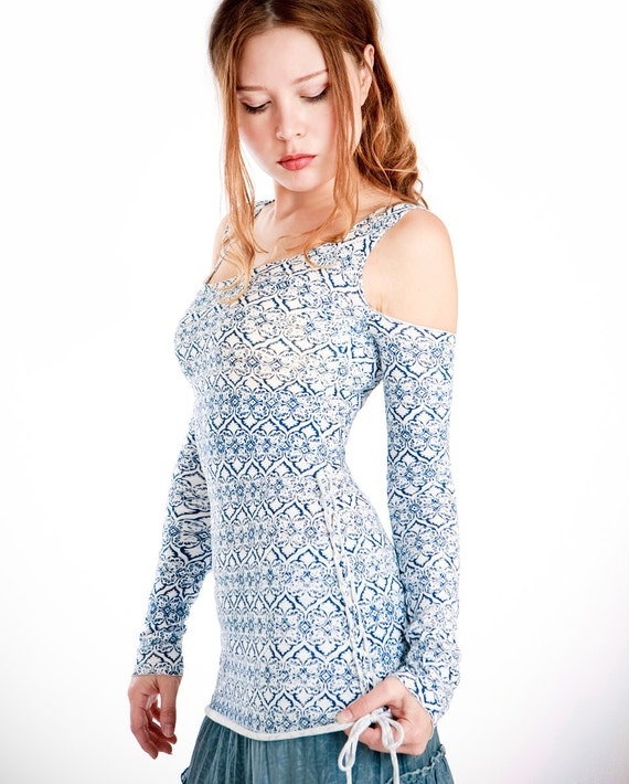 Intricate Blue pattern, long sleeve shirt off sholuder design, cool and very comfortable, XS-S only