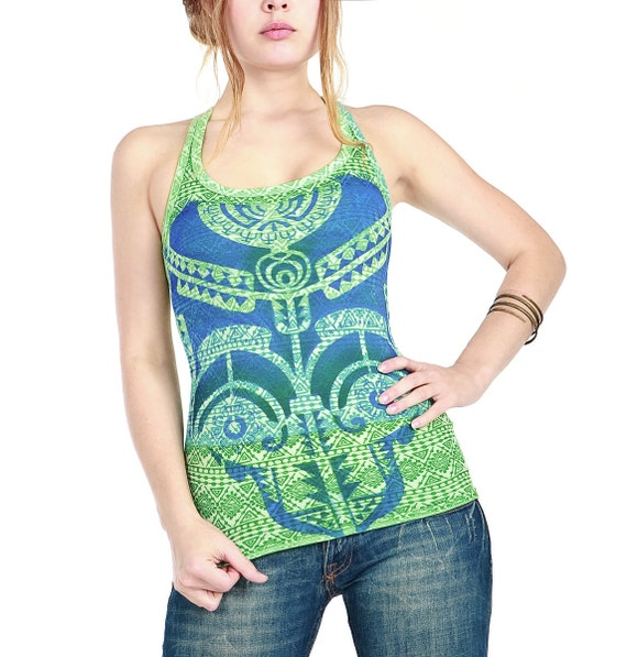 Aqua green top, Tribal  tattoo graphic hand stenciled OOAK