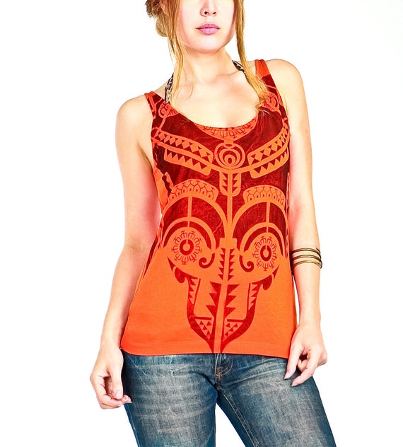 Orange tank top, Tribal  tattoo graphic hand stenciled OOAK
