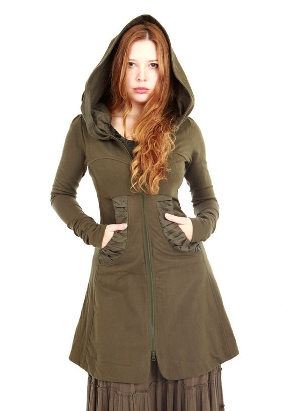 Olive green women hoodie, long classy gorgeous silhouette with a generous hood Large
