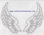 Rhinestone Iron On Transfer Hot fix Crystal angel wings