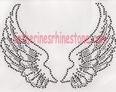 Rhinestone Iron On Transfer Hot fix Black angel wings