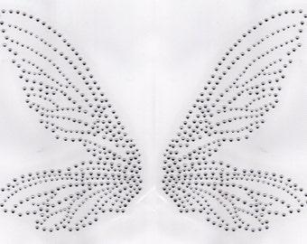 Fairy Wings Iron On Hot Fix Rhinestone Transfer -- Clear