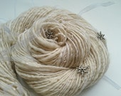 Frosty Art Yarn - SNOW DANCE - Handspun White Art Yarn. Silver Snowflake Charms, White Organza Ribbons. Luxury Knitting. 127 yards, 3.74 oz