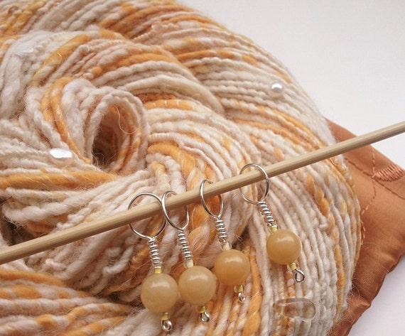 Art Yarn Gift Set - MILK & HONEY - Set of Handspun White and Yellow Luxury Art Yarn with Gems. Aventurine Stitch Markers. Taffeta Bag