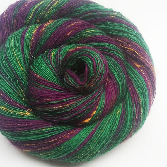 Handspun Lace Yarn - BITTERSWEET NIGHTSHADE - Blend of Merino Wool and Linen. Phlox Purple, Vivid Green, Sunshine Yellow. 406 yards, 2.47 oz