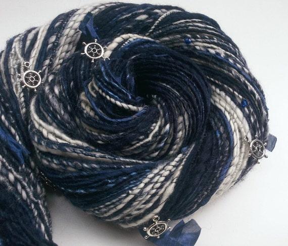 Ocean Art Yarn - SAILORS KNOT - Handspun, with Silk Strips, Glass Beads and Rudder Charms. Blue, White. 137 yds, 3.88 oz