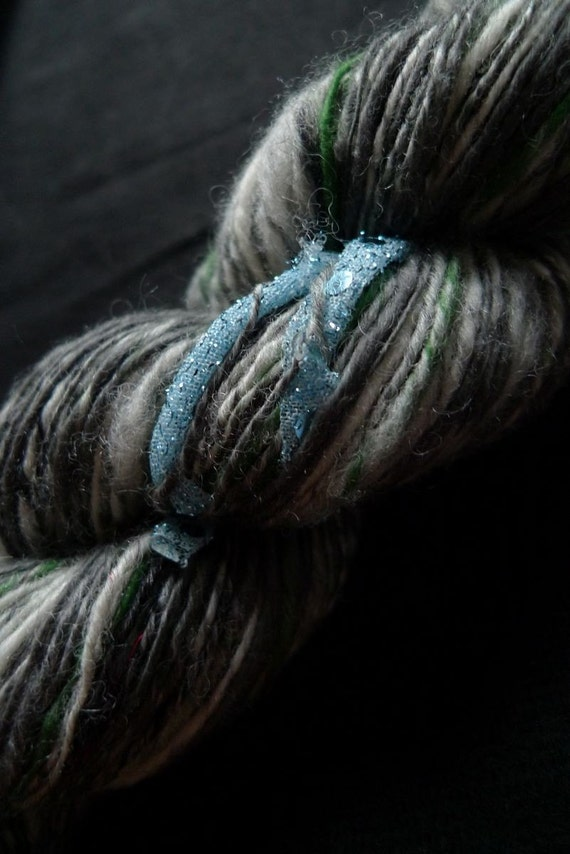 Lyonesse - Handspun Art Yarn with Funky Fabric Stripes
