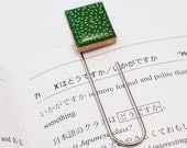 Recycled Scrabble Tile Bookmark Clip - Green Fireflies