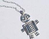 Sidekick Fine Silver Robot Pendant and sterling silver chain