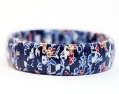 Recycled Bangle Bracelet Japanese Washi Wrapped Blue Bayou