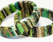 Recycled Magazine Eco Bangle Bracelet - camouflage