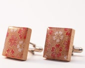 Recycled Scrabble Tile Cufflinks - Pink Sakura Flowers