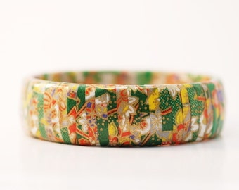 Japanese Chiyogami Paper Bangle Bracelet Walk in the Park
