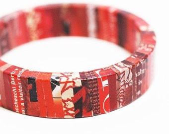 Red Revolution Recycled Magazine Eco Friendly Bangle Bracelet