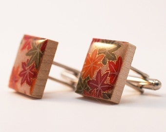 Recycled Scrabble Tile Cufflinks - Japanese Maple Leaves