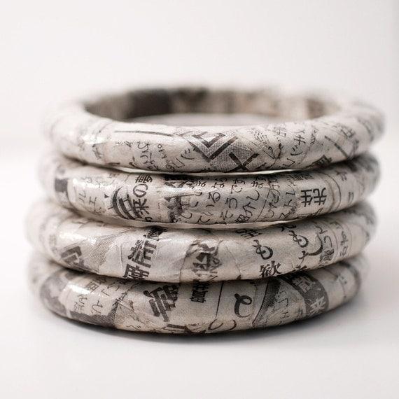 Eco-Friendly Bangle Bracelet - Recycled Japanese Newspaper