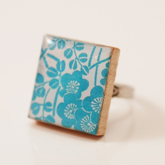 Recycled Scrabble Ring- Sweet Blossoms