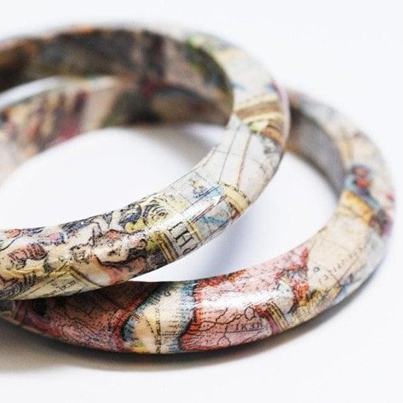 Eco-Friendly Map Bangle Bracelet - New World Traveler
