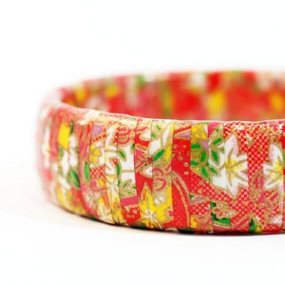 Eco Friendly Japanese Washi Wrapped Bangle Bracelet - Paint the Town